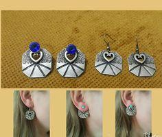 Silver stud earrings long stud earrings Greek stud earrings