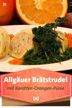 Die mit Brät gefüllte Flädlerolle kommt mit Karotten-Orangen-Püree und Knusperpetersilie auf den Tisch. Natürlich - sagt unser Spitzenkoch Alfred Fahr - können Sie den Strudel auch als Suppeneinlage verwenden. #braetstrudel #flaedle #strudel #suppe #suppeneinlage #karotten #orangen #petersilie Strudel, Seaweed Salad, Ethnic Recipes, Winter, Food, Roast Recipes, Carrots, Vegetarian Recipes, Kochen