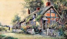 Views of Thatched Cottages and Gardens in Bloom - Counted cross stitch pattern in PDF format by Maxispatterns on Etsy