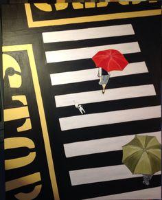 """""""Rencontre"""" .  Pinceau acrylique. Interprétation d'une photo pour exposition dédiée à ce thème"""