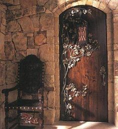 Medieval-Knights & Dragons decorating ideas - knights castle decor - knights and dragons theme rooms - dragon theme decor - prince decor. -- Door to upstairs bedroom. Medieval Knight, Medieval Castle, Medieval Fantasy, Medieval Door, Medieval Gothic, Medieval Bedroom, Medieval Home Decor, Gothic Bedroom, Les Gobelins