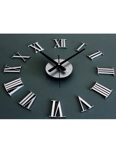 New DIY Adhesive Silver Vintage Roman Numeral Number Frameless Wall Clock Home Decor Living Room Roman Numeral Numbers, Roman Numerals, Great Gifts For Dad, 3d Home, Wall Spaces, Fathers Day Gifts, Adhesive, Living Room Decor, Diys