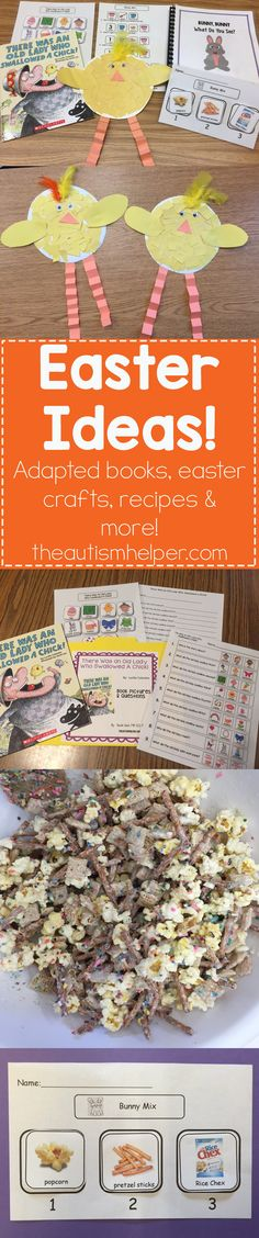 Easter ideas are here! Sarah shares her favorite Easter-themed adapted books, crafts & recipes to use with your students on the blog!! Mmmm Bunny Mix! #therewasanoldlady #chickcraft #bunnymix  #eastereggcrafts From theautismhelper.com #theautismhelper