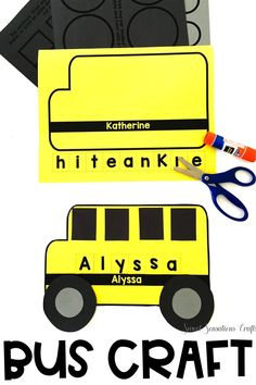 A simple back to school bus craft that is still meeting standards! This editable bus craft can be personalized so that you can program the worksheets with each child's name! So easy to use - simply type your student list into the form fields and generate personalized buses for 20 different students with up to nine letters per bus. Need more names? Clear the form after you have printed and enter a new set of names. Practice names and letter recognition, cutting and gluing, with a purpose! School Bus Crafts, Back To School Crafts, Back To School Activities, School Classroom, Kindergarten Crafts, Preschool, Thing 1, Easy Arts And Crafts, Crafts With Pictures