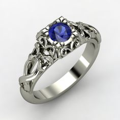 Round Blue Sapphire, Solitaire, Prong Set Ring in 14K White Gold