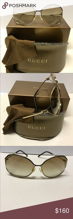 Gucci sunglasses 😎 Authentic Gucci sunglasses 😎 with case and cleaning clothes,in original box 📦, gently worn (see pictures) some wear on the top of the rim , great look. Gucci Accessories Glasses