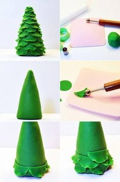 Fondant Tree, Fondant Flowers, Christmas Cake Designs, Christmas Cake Decorations, Cake Decorating Techniques, Cake Decorating Tutorials, Polymer Clay Projects, Diy Clay, Decors Pate A Sucre