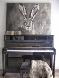 ♅ Dove Gray Home Decor ♅   gray piano and rabbit painting - Angelique Weijers