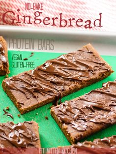 'Tis the season for all things gingerbread! These No-Bake Gingerbread Protein Bars are the perfect filling snack with 13 grams of protein, both vegan and gluten-free. Melting Chocolate Chips, Chocolate Topping, Vegan Chocolate, Vegan Gluten Free, Gluten Free Recipes, Dairy Free, Brown Rice Protein Powder, Fit Mitten Kitchen, Vegan Protein Bars