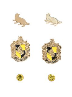 Harry Potter Hufflepuff Crest Earrings Set,