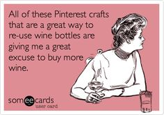 All of these Pinterest crafts that are a great way to re-use wine bottles are giving me a great excuse to buy more wine.