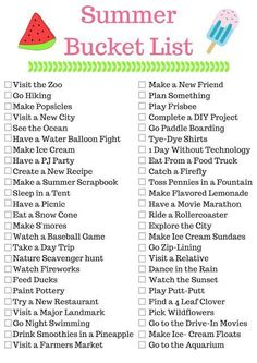 Summer Bucket List-lots of fun ideas!