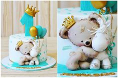 Trendy Ideas Birthday Cake Decorating Ideas For Boys Tutorials Baby Shower Cakes For Boys, Baby Boy Cakes, Baby Boy Shower, Fondant Cakes, Cupcake Cakes, Nake Cake, Teddy Bear Cakes, Bolo Cake, Baby Birthday Cakes