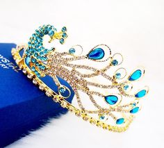 2013 Peacock Rhinestone Crystal Tiara Crown Vintage Bride Quinceanera from Aliexpress Wedding Dress Accessories, Jewelry Accessories, Peacock Dress, Peacock Wedding Dresses, Green Peacock, Peacock Jewelry, Magical Jewelry, Tiaras And Crowns, Royal Crowns