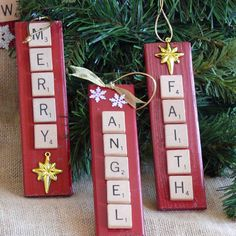 Scrabble Tile Christmas Ornaments by SnowmanCollector.nice gift for a Scrabble lover Ornament Crafts, Diy Christmas Ornaments, Christmas Projects, Handmade Christmas, Holiday Crafts, Christmas Decorations, Christmas Ideas, Scrabble Letter Crafts, Scrabble Art