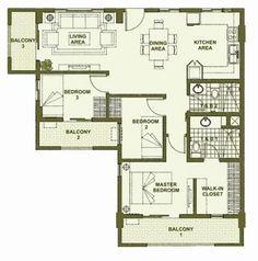 Accolade Place - 3-Bedroom Unit Floor Plan A #condo #realEstate #manilacondo www.mymanilacondo.com Condo Design, House Design, Interior Design, Quezon City, Manila Philippines, Luxury Condo, Condos For Sale, Condominium, Water Features