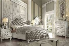 Acme 5 pc versailles collection bone white finish wood and vintage gray faux leather headboard queen bedroom set Sleigh Bedroom Set, King Bedroom Sets, Queen Bedroom, King Bedding Sets, White Bedroom, Master Bedroom, Royal Bedroom, Upholstered Bedroom Set, Bedroom Furniture Sets
