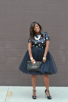 Tulle Skirt - Holiday Party Looks.I want to try this look so much! I need to find a tulle skirt. : Tulle Skirt - Holiday Party Looks.I want to try this look so much! I need to find a tulle skirt. Plus Size Skirts, Plus Size Outfits, Plus Size Tutu Skirt, Party Fashion, Fashion Outfits, Womens Fashion, Curvy Girl Fashion, Plus Size Fashion, Mode Xl