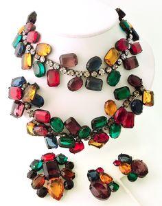 Rare Vintage 1960's Kenneth J. Lane Necklace, Bracelet, Earrings, Pin Parure