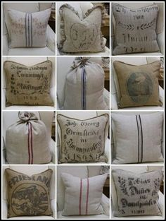 were to get grain sack french linen fabrics, crafts, reupholster Burlap Projects, Burlap Crafts, Drop Cloth Projects, Fabric Crafts, Burlap Sacks, Burlap Pillows, Hessian, Coffee Sacks, Burlap Coffee Bags