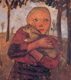 Artist: Paula Modersohn-Becker (1876–1907) /Description: Mädchen mit Kaninchen /Date: 1905 /Medium: color on paperboard /Dimensions: 61 × 55,5 cm /Current location: Von der Heydt-Museum