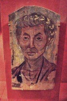 Fayum mummy portrait of Elderly Lady with a Gold Wreath Encaustic on limewood 100-125 CE Roman Egypt