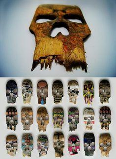 Broken skateboard skull art by Beto janz