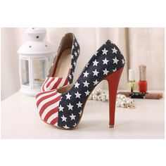 Fabulous US Red Blue Denim American Flag High Stiletto Heel Pump ❤ liked on Polyvore