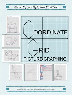 Materials for nine different, unique pictures to plot on the coordinate grid. Some are written for one quadrant (positive numbers only), some for four quadrants, (positive and negative), and some age written both ways.  Great for differentiation.