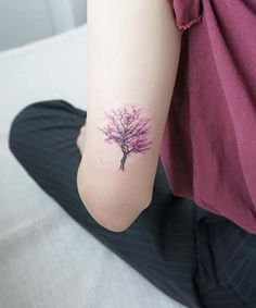 Cutest Cherry Tree Tattoo Design Above the Elbow for Girls