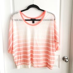 Lane Bryant Neon Sheer Striped Top Like new! No pilling. No PayPal or Trades! Lane Bryant Tops Tees - Long Sleeve