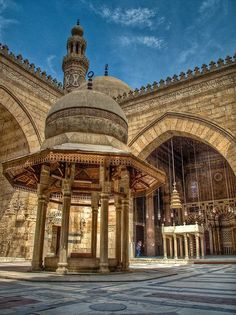 Madrasa and Khanqah of Sultan al-Zahir Barquq, Cairo University Architecture, Islamic Architecture, Art And Architecture, Landscape Photos, Landscape Photography, Night Photography, Monuments, Places In Egypt, Central Park Manhattan