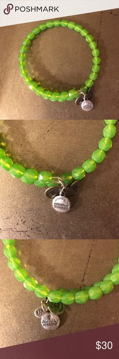 Alex & Ani green wrap bracelet Green beads with Russian silver metal. Vintage 66 collection. GUC. Alex & Ani Jewelry Bracelets