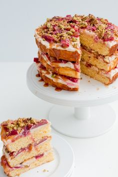 Rhubarb, Pistachio and Salted Caramel Layer Cake
