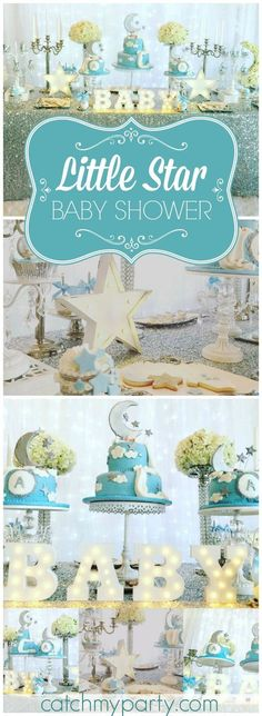 Love this Twinkle Twinkle Little Star shower with a soft color palette! pinned by freebies-for-baby.com  #babyshowerideas