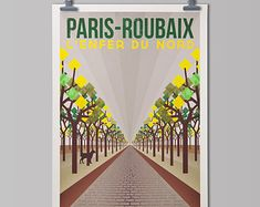 Cycling Art Print 'Paris-Roubaix' by TheHandmadeCyclist on Etsy
