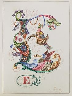 """illuminated alphabet.  """"s"""", but doesn't have to be as ornate as this one, just an example.  8"""" hoop, aqua/red/lime by sharene"""