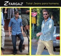 Mas não pense que o Total Jeans só pode ser usado por mulheres. Nada disso, os homens também podem usar dessa tendência, como os astros hollywoodianos fizeram, confira os looks!   Brad Pitt investiu no total jeans em dois tons de azul, claro e escuro. E Jake Gyllenhaal, preferiu combinar o jeans azul claro com uma calça jeans em tom pastel. Quer visual mais estiloso que esses? O Jeans arrasa tanto para homens como para mulheres.   E aí, o que vocês acharam?