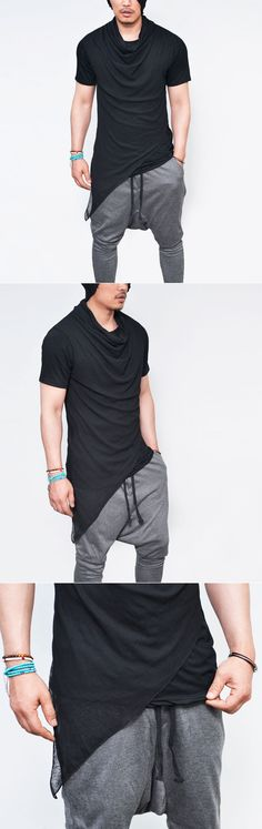 Tops :: Tees :: Unbalane Diagonal Layer Shirring Turtle-Tee 740 - Mens Fashion Clothing For An Attractive Guy Look
