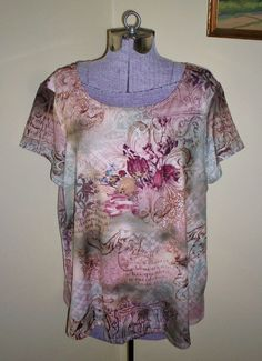 "Women's Plus Size 2X Shirt Blouse Top Tee 50"" Bust Notations Polyester Spandex #Notations #Tee #Casual"