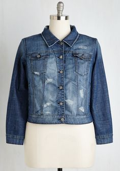 Revel Rebel Jacket - 1X-3X. You rock a little edge in every ensemble, which is exactly why you adore this collared jean jacket! #blue #modcloth