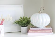 Decorate for fall with blush pink, white and gold accents! home décor; how to decorate for fall. Lauren Conrad Style, Fall Floral Arrangements, Velvet Pumpkins, Fall Season, Rose, Accent Decor, Office Decor, Blush Pink, Fall Decor