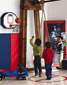 Garage on pinterest garage mud rooms and garage doors for Basketball hoop for kids room