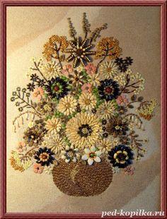 Burlap Flowers, Diy Flowers, Mosaic Crafts, Mosaic Art, Pumpkin Seed Crafts, Pista Shell Crafts, Seed Art, Rock Flowers, Crafts For Seniors