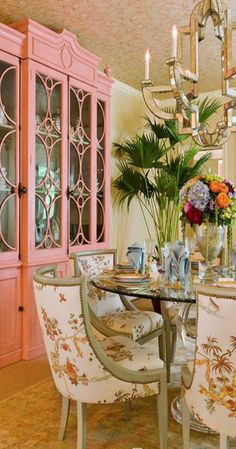"""Stunning dining room in the D. Designed by Shazalynn Cavin-Winfrey. Chair fabric is """"La Pagode Chine""""/Antique from Cowtan & Tout. Plywood Furniture, Dining Room Furniture, Painted Furniture, Dining Rooms, Room Chairs, Painted Sideboard, Pink Furniture, Furniture Sale, Luxury Furniture"""