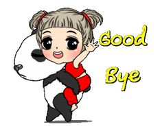 Funny Chat, You Funny, Panda Movies, Love You Gif, Learn Chinese, Gifs, Line Sticker, Cute Gif, Bye Bye