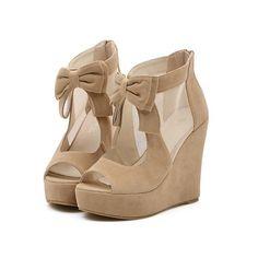 Wedge heels bowknot designer peep toe sexy saucy girls shoes XD-FD208-7