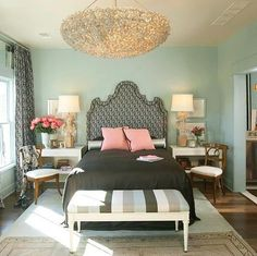 mint bedroom...My new color on 3 walls then on the 4th wall, that is going to be white base color with black details