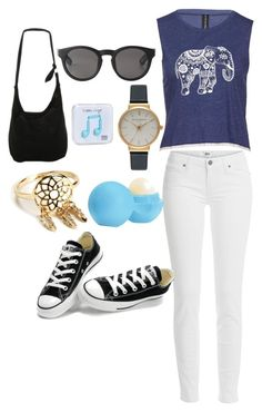 """Untitled #2"" by andreaaaaa23 ❤ liked on Polyvore featuring Paige Denim, Converse, Disney, Monki, Olivia Burton, Eos and Happy Plugs"