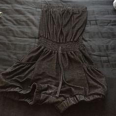 Gray romper Gray romper with pockets and elastic waist and draw string. Other